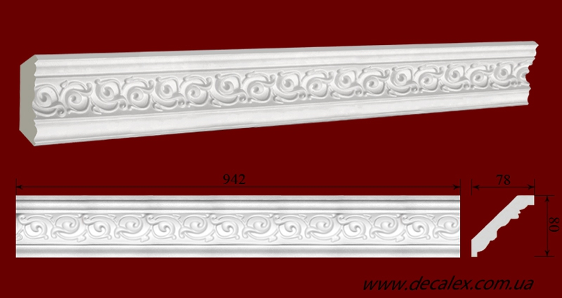 Код товара КР0800781. Карниз из гипса длиной 942мм. Габариты: 80 мм х 78 мм. Розничная цена 120 грн/шт.Минимальный заказ 10 метров.