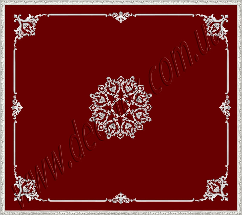 Рис. П019. Размер потолка: 3200х3600 мм..По краям потолка использован карниз: КР70702 (14шт). Рамка состоит из молдинга: МЛ2502 (6шт), ГЛ2502-5 (16шт). Наборной угол составлен из элементов орнамента: ФР0011 (2шт), ФР0013 (1шт), ФР0019 (2шт), ФР0033 (2шт), ФР0050 (1шт), ФР0052 (2шт), ФР0059 (2шт). Вставка состоит из элементов орнамента: ФР0033 (2шт), ФР0042 (1шт). Наборная потолочная розетка составлена из элементов орнамента: ФР0019 (16шт), ФР0033 (16шт), ФР0034 (8шт), ФР0050 (8шт), ФР0052 (16шт), ФР0059 (8шт).