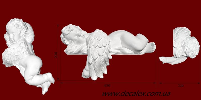 Код товара СК01П. Гипсовая скульптура спящего ангела. Наиболее часто используется в декорировании каминов. Розничная цена 650 грн./шт.