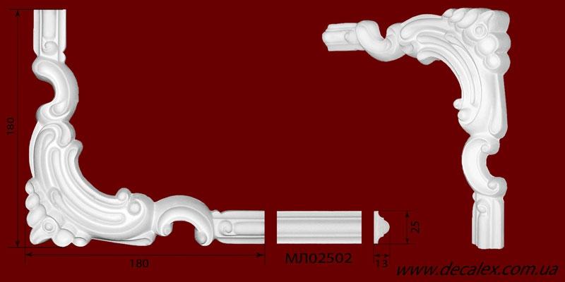 Код товара ГЛ02502-4. Угловой элемент из гипса шириной 25 мм., стыкуется с МЛ02502. Розничная цена 60 грн./шт.