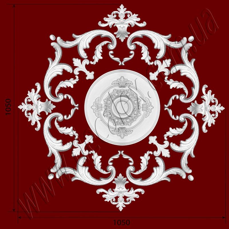 Рис. РН36. Наборная потолочная розетка составлена из элементов орнамента: ФР0009 (8шт), ФР0011 (8шт), ФР0014 (4шт), ФР0019 (8шт), ФР0042 (4шт), ФР0047 (4шт), потолочная розетка РЗ 3501 (1шт). Розничная цена элементов составляет 1650 грн.