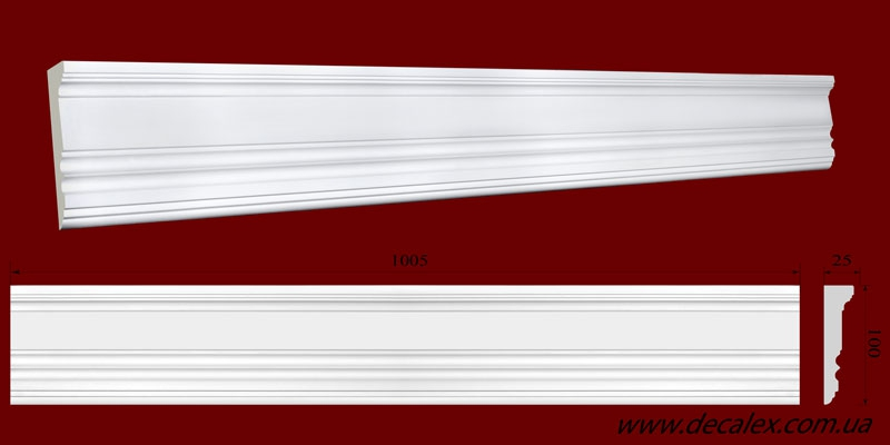 Код товара МЛ10001. Молдинг из гипса шириной 100 мм и длиной 1005 мм. Розничная цена 100 грн./шт.