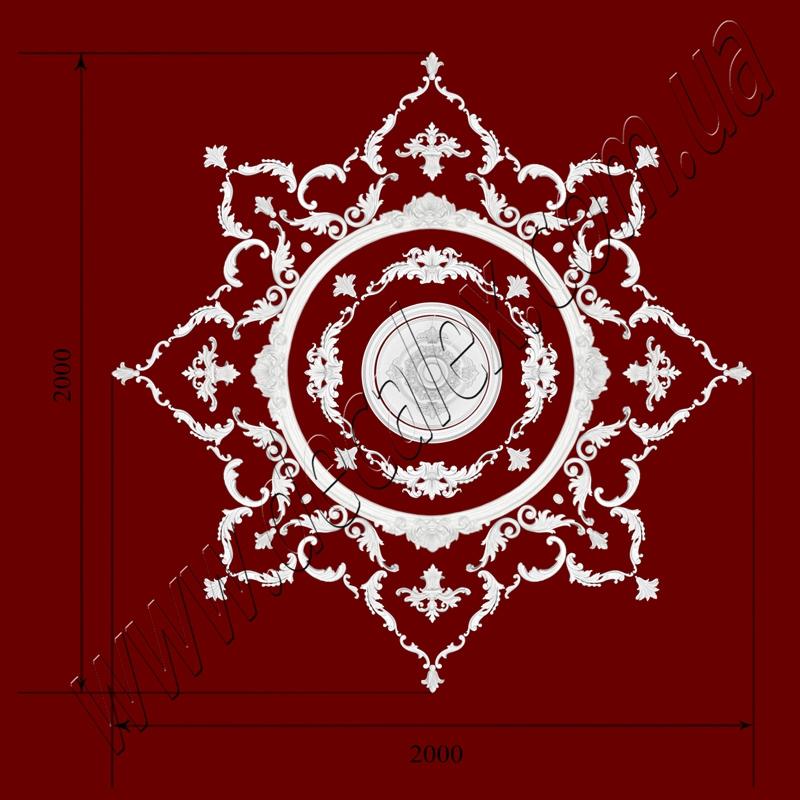 Рис. РН88. Наборная потолочная розетка составлена из элементов орнамента: ФР0013 (8шт), ФР0014 (4шт), ФР0019 (8шт), ФР0042 (4шт), ФР0101 (8шт), ФР0103 (8шт), ФР0109 (16шт), ФР0111 (4шт), ФР0112 (16шт), ФР0113 (8шт), потолочная розетка РЗ 4401 (1шт), РЗ 3501 (1шт), дуга ДГ0001 (4шт). Розничная цена элементов составляет 4900 грн.