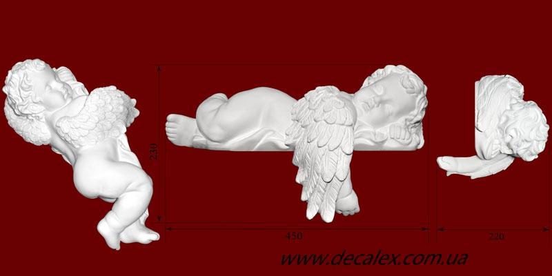 Код товара СК01Л. Гипсовая скульптура спящего ангела. Наиболее часто используется в декорировании каминов. Розничная цена 650 грн./шт.
