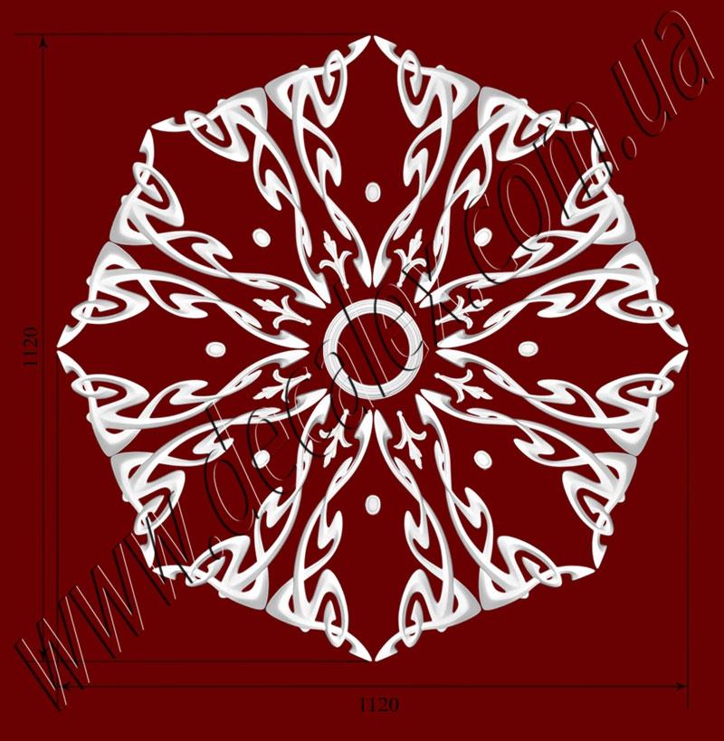 Рис. РН74. Наборная потолочная розетка составлена из элементов орнамента: ФР0014 (8шт), ФР0032 (8шт), ФР0106 (16шт), РЗ 180 (1шт). Розничная цена элементов составляет 1425 грн.