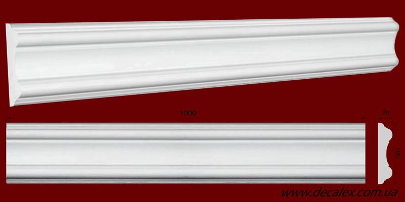 Код товара МЛ10002. Плинтус из гипса шириной 100 мм и длиной 1000 мм. Розничная цена 100 грн./шт.