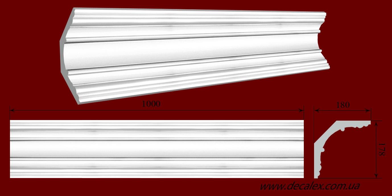 Код товара КЛ1801781. Карниз из гипса длиной 1000мм. Габариты: 180мм х 178мм. Розничная цена 395 грн/шт.Минимальный заказ 10 метров.