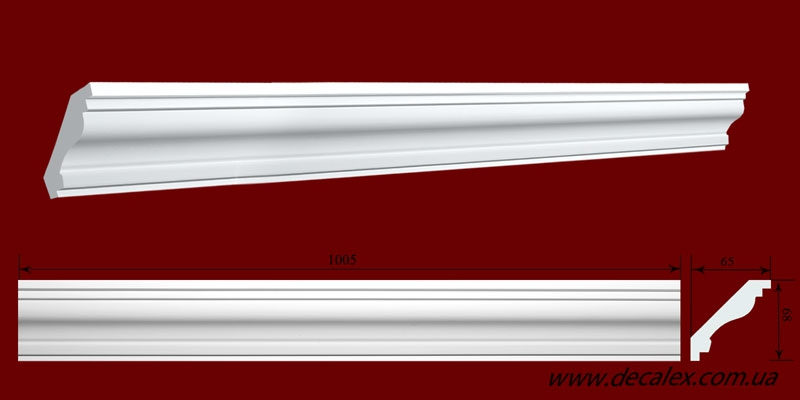 Код товара КЛ0680651. Карниз из гипса длиной 1005мм. Габариты: 68мм х 65мм. Розничная цена 105 грн/шт.