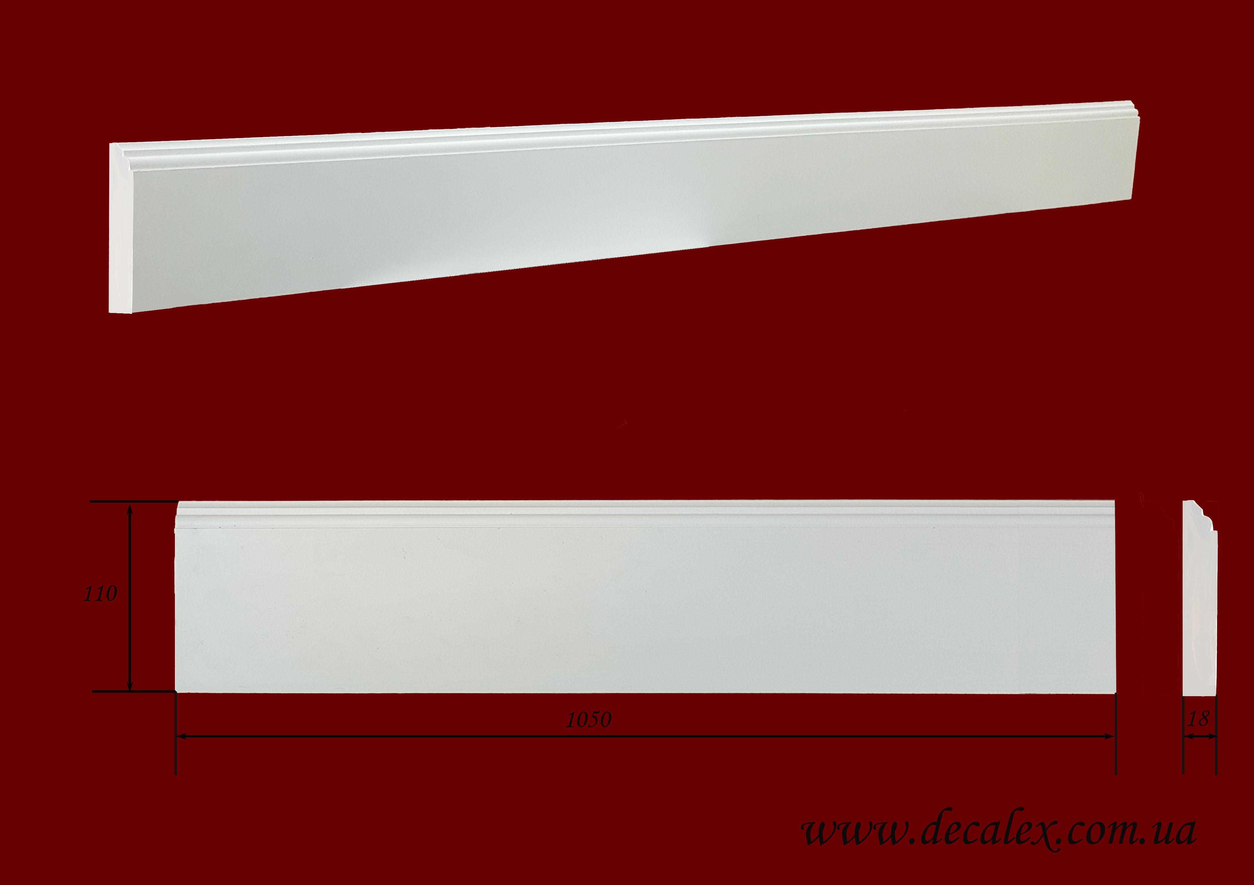Код товара ПЛ11001. Плинтус из гипса шириной 110 мм и длиной 1005 мм. Розничная цена 150 грн/шт
