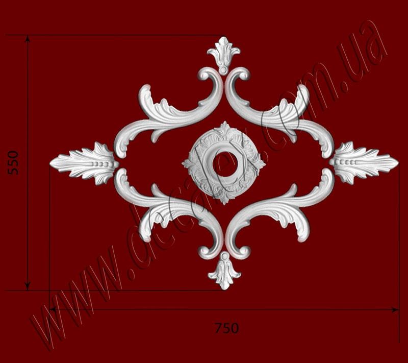Рис. РН26. Наборная потолочная розетка составлена из элементов орнамента: ФР0010 (2шт), ФР0011 (4шт), ФР0013 (2шт), потолочная розетка РЗ10 (1шт). Розничная цена элементов составляет 370 грн.