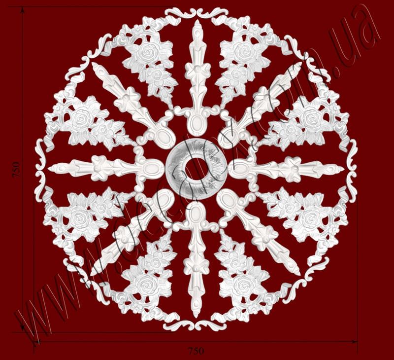 Рис. РН55. Наборная потолочная розетка составлена из элементов орнамента: ФР0019 (16шт), ФР0066 (8шт), ФР0084 (8шт), РЗ05 (1шт). Розничная цена элементов составляет 1290 грн.