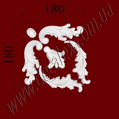 Рис. УН14. Гипсовый наборной угол составлен из элементов орнамента: ФР0009 (2шт), ФР0013 (1шт), ФР0014 (1шт), ФР0053 (2шт) - 175 грн/1 угол