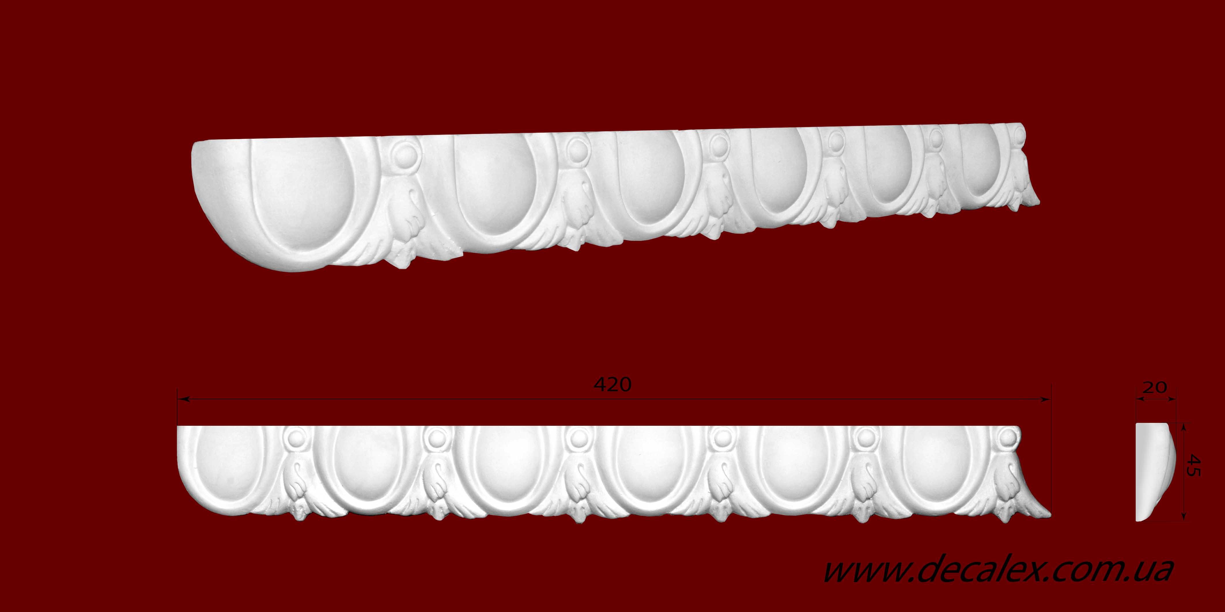 Код товара МP04501. Молдинг из гипса шириной 45 мм и длиной 420 мм. Розничная цена 35 грн./шт.