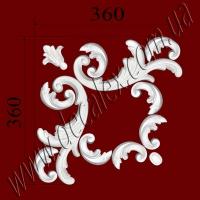 Рис. УН32. Гипсовый наборной угол составлен из элементов орнамента: ФР0011 (2шт), ФР0013 (1шт), ФР0014 (1шт), ФР0061 (8шт) - 325 грн/1 угол
