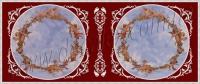 Рис. П023. Размер потолка: 8300х3500 мм..По краям потолка использован карниз: КР0900901 (26шт). Круг диаметром 3 м. из молдинга - МЛ04001. Узор вокруг кругов состоит из элементов орнамента: ФР0009 (16шт), ФР0011 (16шт), ФР0017 (16шт), ФР0019 (32шт), ФР0027 (16шт), ФР0034 (16шт), ФР0042 (8шт), ФР0059 (16шт), ФР0062 (16шт), ФР0063 (24шт). Узор между кругов состоит из элементов орнамента: ФР0013 (4шт), ФР0014 (1шт), ФР0019 (4шт), ФР0009 (12шт), ФР0027 (4шт), ФР0011 (8шт), ФР0042 (2шт), ФР0033 (4шт), ФР0028 (4шт), ФР0055 (2шт), настенное панно НП01 (4 шт).