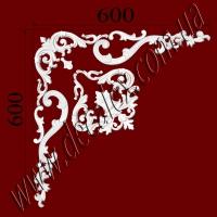 Рис. УН60. Гипсовый наборной угол составлен из элементов орнамента: ФР0018 (1шт), ФР0033 (2шт), ФР0042 (1шт), ФР0098 (2шт), ФР0101 (2шт), ФР0107 (1шт), ФР0108 (2шт) - 675 грн/1 угол