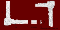 Код товара ГЛ04002-2. Угловой элемент из гипса шириной 40 мм., стыкуется с МЛ04002. Розничная цена 80 грн./шт.