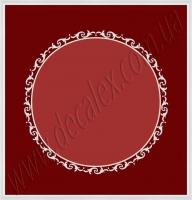 Рис. П020. Размер потолка: 3700х3900 мм..По краям потолка использован карниз: КЛ100951 (20шт). Обрамление круга состоит из элементов: МЛ2502 (8шт по заданному радиусу), ФР0011 (34шт), ФР0014 (17шт).