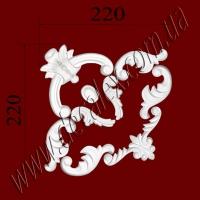 Рис. УН45. Гипсовый наборной угол составлен из элементов орнамента: ФР0008 (2шт), ФР0014 (1шт),  ФР0031 (1шт), ФР0070 (1шт),  ФР0082 (4шт) - 170 грн/1 угол
