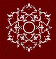 Рис. РН77. Наборная потолочная розетка составлена из элементов орнамента: ФР0004 (6шт), ФР0010 (6шт), ФР0014 (6шт), ФР0042 (6шт), ФР0091 (12шт), ФР0098 (12шт), ФР0099 (12шт), ФР0100 (12шт), ФР0101 (12шт), потолочная розетка РЗ 4401 (1шт). Розничная цена элементов составляет 3510 грн.