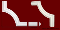 Код товара ГЛ04001-2. Угловой элемент из гипса , стыкуется с МЛ04001. Розничная цена 50 грн./шт.