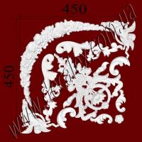 Рис. УН46. Гипсовый наборной угол составлен из элементов орнамента: ФР0015 (2шт), ФР0017 (2шт),  ФР0033 (2шт), ФР0059 (1шт),  ФР0062 (2шт), ФР0063 (1шт),  ФР0082 (2шт), ФР0086 (1шт) - 610 грн/1 угол
