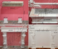 Код товара КМ02 (Рис. 2.1.4) Наборной камин состоит из элементов: КС04 (2шт); КС08 (2шт); ДП0002 (2шт); ФР0013 (1шт); ФР0028 (2шт).  * В данном случае показаны размеры портала, установленного в нашем магазине. По желанию заказчика параметры a и b могут вариироваться.