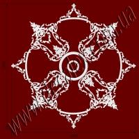 Рис. РН75. Наборная потолочная розетка составлена из элементов орнамента: ФР0013 (4шт), ФР0019 (8шт),ФР0052 (16шт), ФР0084 (4шт), ФР0086 (4шт), ФР0099 (8шт), ФР0101 (24шт), ФР0106 (8шт), РЗ180 (1шт), РЗ4401 (1шт), ГЛ02502-5 (8шт), МЛ02502 (4шт, диаметр круга - 1440мм.). Розничная цена элементов составляет 4355 грн.
