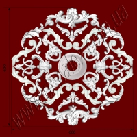 Рис. РН20. Наборная потолочная розетка составлена из элементов орнамента: ФР0001 (4шт), ФР0031 (2шт), ФР0019 (4шт), ФР0004 (2шт), ФР0009 (4шт), ФР0052 (8шт), ФР0008 (4шт), ФР0018 (2шт), ФР0025 (2шт), потолочная розетка РЗ12 (1шт). Розничная цена элементов составляет 960 грн.
